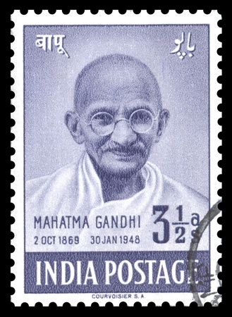 London, UK � January 15, 2012: Vintage India postage stamp of 1948 showing an engraved portrait of Mahatma Gandhi, issued to celebrate the first anniversary of Indias independence Editorial