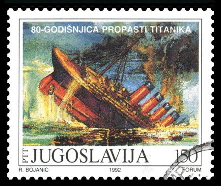 titanic: Yugoslavia postage stamp showing an image of RMS Titanic, built in Belfast , Ireland and sunk on its maiden voyage in 1912,from Southampton, England to New York, USA Stock Photo