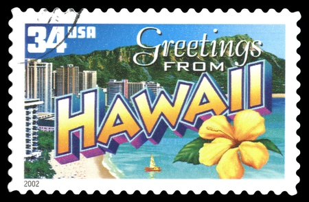 USA postage stamp Greetings from Hawaii Stock Photo - 12361341