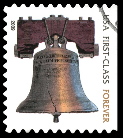 postage stamp: USA  forever postage stamp showing an image of the Liberty Bell
