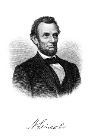 autograph: High resolution scan of an engraved image of Abraham Lincoln from a 1902 book