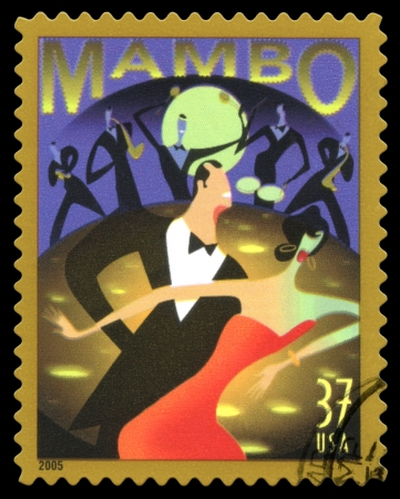 USA postage stamp of 2005 showing an abstract image of a couple dancing the Mambo