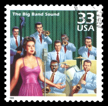 USA vintage postage stamp showing an image of the 1940 s Big Band music