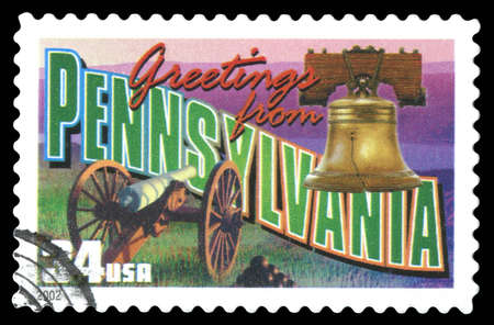 USA Postage Stamp Greetings From Pennsylvania showing an image of the Liberty Bell