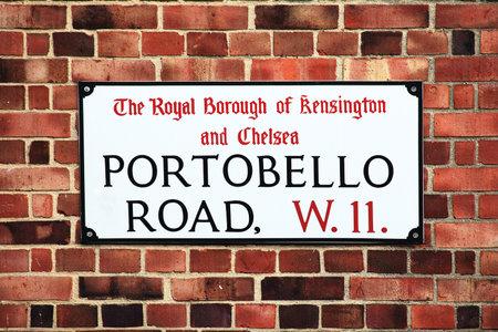 Portobello Road sign in the street market at Notting Hill, Kensington, London, England, UK Stock Photo - 12768420