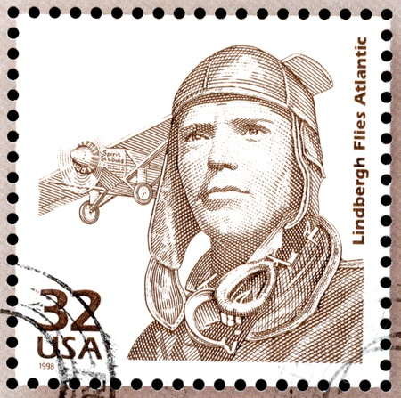 USA postage stamp showing a portrait of Charles Lindbergh