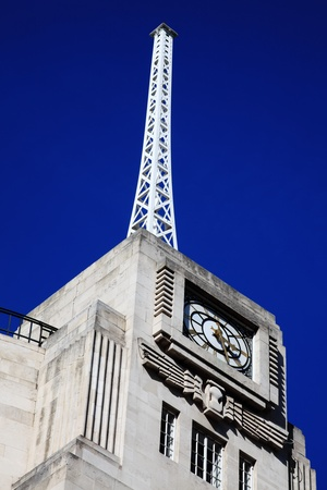 The antenna of the BBC Broadcasting House built in an Art Deco style in1932, in Regent Street, London, England, UK, which was the original headquarters of The British Broadcasting Corporation