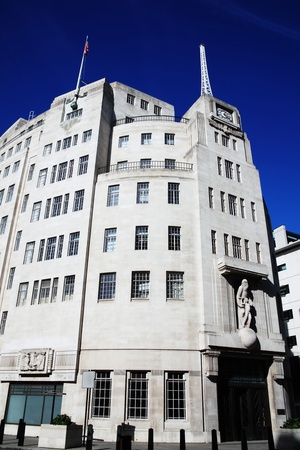 regent: BBC Broadcasting House built in an art deco style in1932, in Portland Place, Regent Street, London, England, UK was the original headquarters of the British Broadcasting Corporation