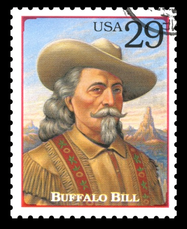 showman: London, UK � February 5, 2012: USA postage stamp of 1994 showing a portrait of Buffalo Bill from the Legends of the West series