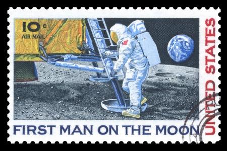 sello postal: EE.UU. sello postal que conmemora la vendimia en el primer hombre en la Luna