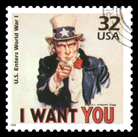 enlisting: USA vintage postage stamp showing an image of Uncle Sam from World War One  saying  I want you