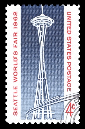 space needle: USA vintage 1962 postage stamp showing an image of the Space Needle and Monorail, built in Seattle, Washington for the World Trade Fair of that year