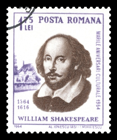 english famous: Romania 1964 postage stamp celebrating the 400th anniversary of the birth of  William Shakespeare     showing a portrait engraving of the famous English Elizabethan playwright
