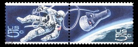 commemorating: USA vintage 1967 postage stamps commemorating Gemini 4 over Earth showing an astronaut making a space walk