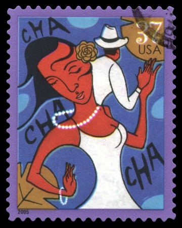 USA postage stamp of 2005 showing an abstract image of a couple dancing the Cha Cha Cha