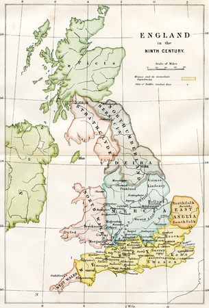 An engraved image showing a 9th century map of the kingdoms of  Anglo Saxon Dark Age Britain taken from a Victorian book dated 1882 that is no longer in copyright Stock Photo - 13548054