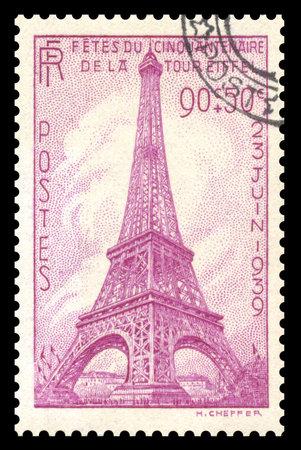 sello postal: Vintage 1939, el sello postal de Francia que muestra una imagen grabada de la Torre Eiffel en Par�s, Francia