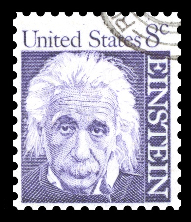 USA 8 cent postage stamp of Albert Einstein from the 1965 (1st series) of Prominent Americans