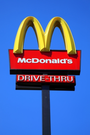 McDonalds yellow and red logo advertising sign Stock Photo - 13795635