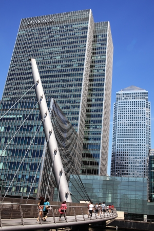 London, UK - May 27, 2012: Footbridge to Canary Wharf in London