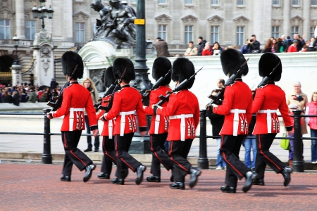 London, UK - April 14, 2012: Coldstream Guards marching to change the guard at Buckingham palace