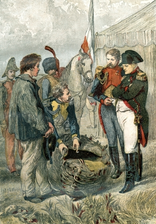 An engraved illustration image representing an incident that occurred with an English sailor while Napoleon Bonaparte was encamped with his army at Boulogne, from a Victorian book dated 1863 that is no longer in copyright