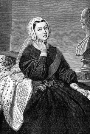 named person: An engraved illustration image of Queen Victoria, from a Victorian book dated 1884 that is no longer in copyright