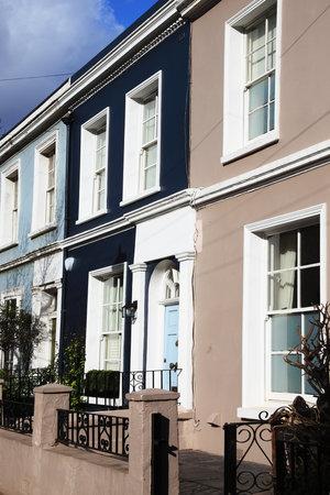 houses row: Georgian terraced town houses in Portobello Road, Kensington, London, England, UK Editorial