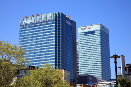 London, UK - May 27, 2012: Barclay and HSBC Towers at Canary Wharf in London's Docklands, the largest financial business development in East London