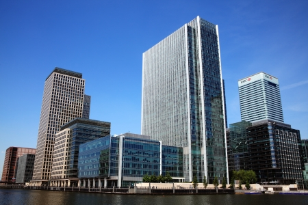 wharf: London, UK - May 27, 2012: Canary Wharf in Londons Docklands, the largest financial business development in East London