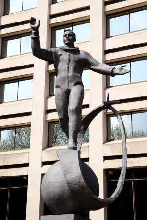 spaceflight: London, UK - April 14, 2012: Yuri Gagarin statue in The Mall, which was a gift from the Russian space agency Roscosmos to the British Council to commemorate the 50th aniversary of the first manned spaceflight by the cosmonaut on July 14th 2011 Editorial