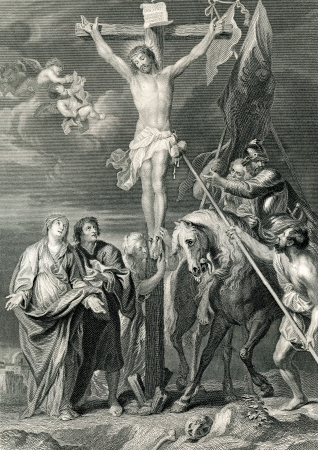 An engraved illustration image of  The Crucifixion of Jesus Christ, from a Victorian book dated 1879 that is no longer in copyright Editorial