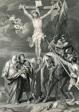 Eine gravierte Darstellung Bild der Kreuzigung von Jesus Christus, aus einem viktorianischen Buch datiert 1879, die nicht mehr dem Urheberrecht unterliegt, Standard-Bild - 14628365