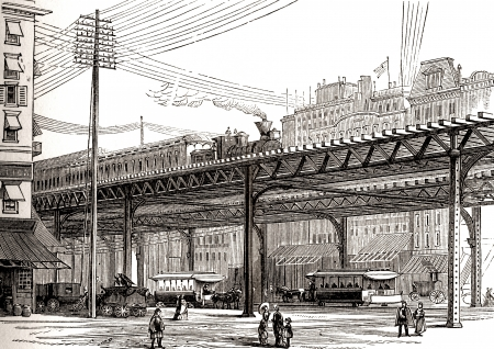 An engraved illustration image of the 19th century New York, USA, elevated railway from a Victorian book dated 1883 that is no longer in copyright Stock Photo - 14628686