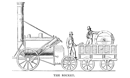 An engraved illustration image of  George Stephenson s Rocket  steam train from a Victorian book dated 1883 that is no longer in copyright