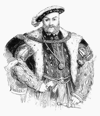 vestidos de epoca: Una ilustración grabada la imagen del retrato de Enrique VIII, el rey de Inglaterra 1491-1547, Reino Unido, a partir de un libro de estilo victoriano de fecha 1883 que ya no está en derecho de autor,
