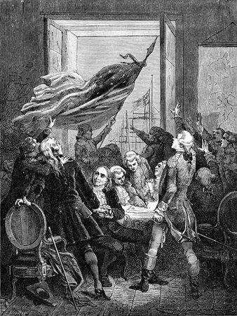 george washington: Una ilustraci�n grabado de la firma de la Declaraci�n de Independencia americana EE.UU., a partir de un libro de estilo victoriano de fecha 1883 que ya no est� en los derechos de autor