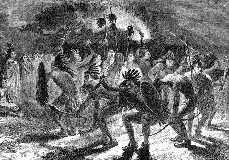 sioux: An engraved illustration of a native American Indian dance, from a Victorian book dated 1883 that is no longer in copyright Stock Photo