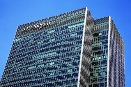 j: London, UK - May 27, 2012: The investment bank J P Morgan & Cos European headquarters at 25 Bank Street, Canary Wharf, which was brought by the company in 2010 after the collapse of Lehman Brothers the previous owners