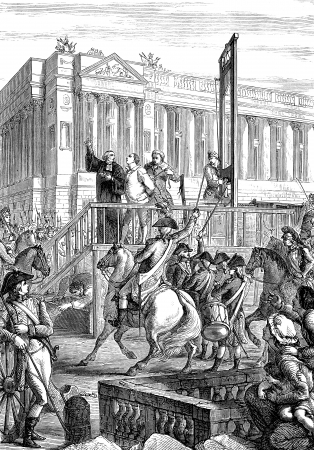 An engraved illustration showing the execution by guillotine of King Louis XVI during the French Revolution  from a Victorian book dated 1883 that is no longer in copyright