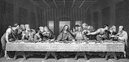 theology: A drawing of Leonardo Da Vinci s The Last Supper from a Victorian book dated 1879 that is no longer in copyright Stock Photo