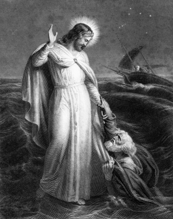 An engraved illustration image of Jesus Christ walking on the sea, from a Victorian book dated 1879 that is no longer in copyright