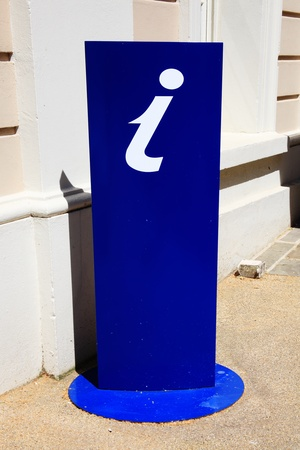 information point: A blue UK tourist information sign displayed on a stand