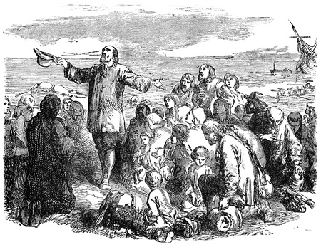 adventurers: An engraved illustration of the Pilgrim Fathers leaving England, from a Victorian book dated 1883 that is no longer in copyright