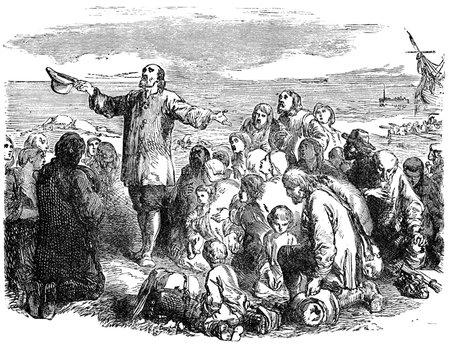 p�lerin: Une illustration grav� des P�res P�lerins qui quittent l'Angleterre, � partir d'un livre victorien date de 1883 qui n'est plus en droit d'auteur