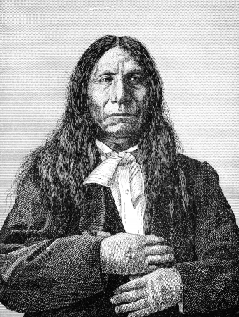 An engraved illustration of Red Cloud a native American Indian and a chief of the Sioux, from a Victorian book dated 1880 that is no longer in copyright Stock Photo - 14915091