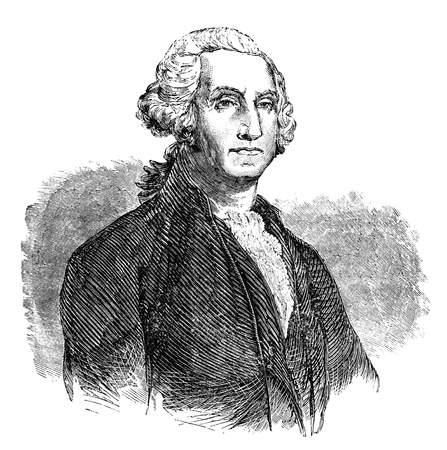 dated: An engraved illustration of George Washington, from a Victorian book dated 1883 that is no longer in copyright