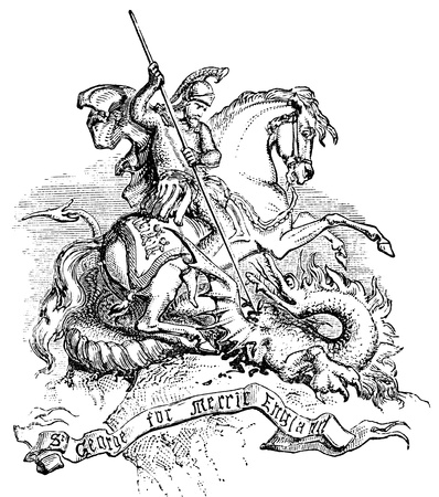 An engraved illustration of St George and the dragon, from a Victorian book dated 1883 that is no longer in copyright