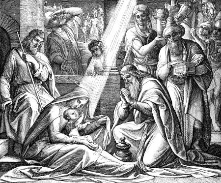 La Adoración de los Reyes Magos de un libro de estilo victoriano de fecha 1879 que ya no está en los derechos de autor