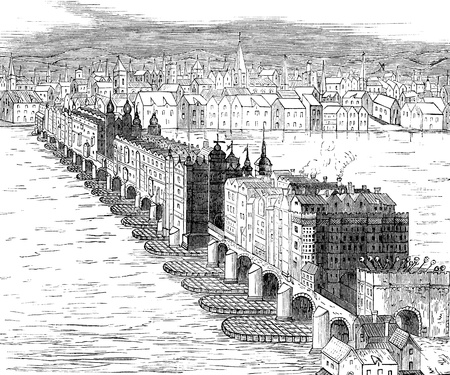 17th: An engraved vintage illustration of old London Bridge from a Victorian book dated 1880 that is no longer in copyrigh Stock Photo
